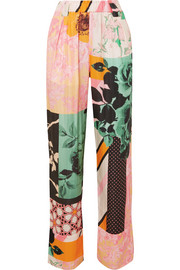 Vinnie printed satin straight-leg pants