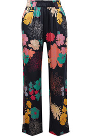 Vinnie floral-print silk-blend satin straight-leg pants