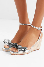 Sophia Webster Soleil Lucita mirrored-leather espadrille wedge sandals