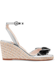 Soleil Lucita mirrored-leather espadrille wedge sandals