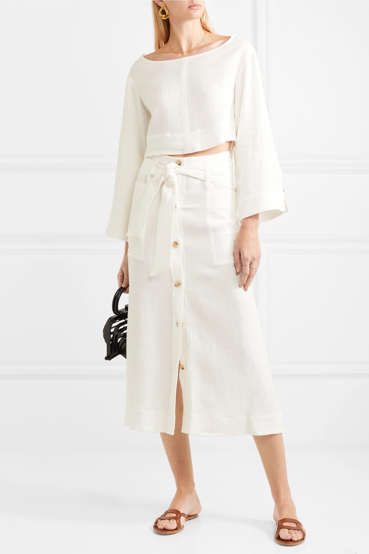 Le Kasha Giza linen midi skirt