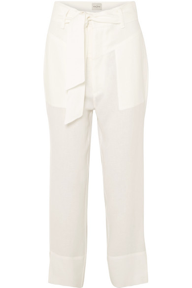 LE KASHA Amman Ivory Linen Trousers in White