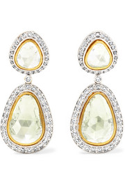 18-karat yellow and white gold diamond earrings