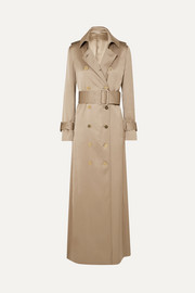 Double-breasted silk-satin trench coat