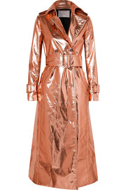 Metallic coated silk-blend trench coat