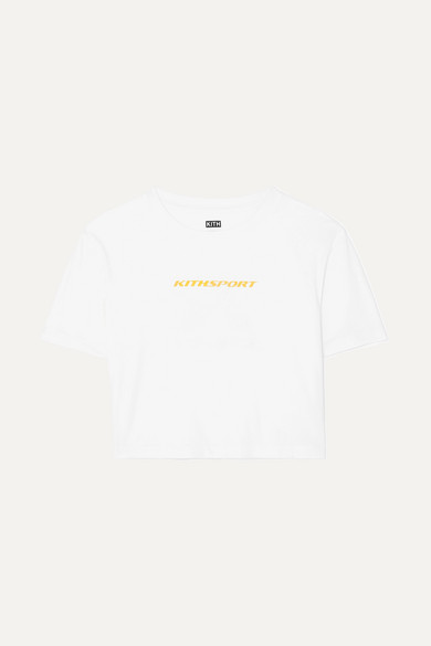 KITH MULBERRY CROPPED PRINTED COTTON-JERSEY T-SHIRT