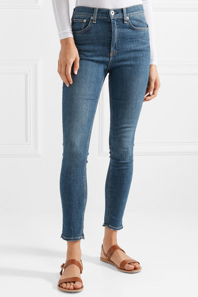 Cropped Frayed High Rise Skinny Jeans by Rag & Bone