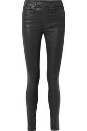 Coated high-rise skinny jeans