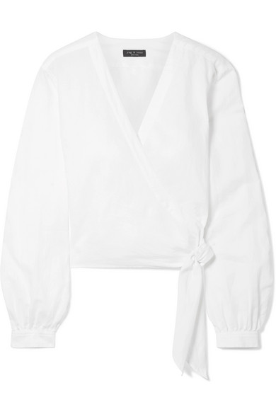 Prescot Cotton And Linen Blend Wrap Top by Rag & Bone