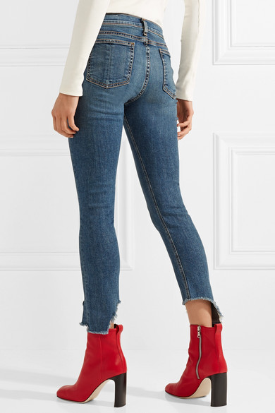 rag & bone Capri tief sitzende Skinny Jeans in Distressed-Optik
