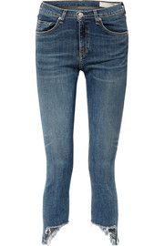 The Capri distressed low-rise skinny jeans