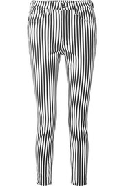 Striped high-rise skinny jeans