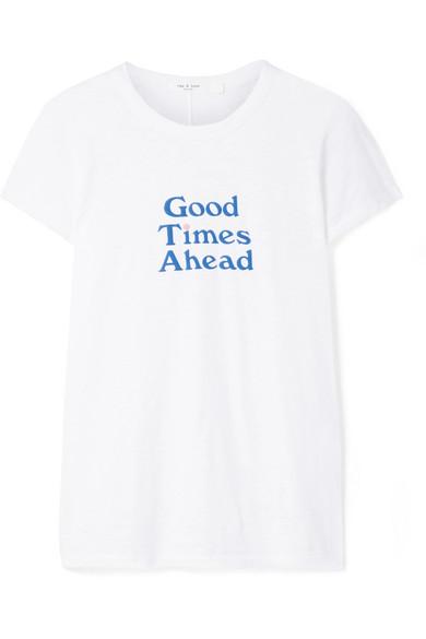 Rag Bone Printed Slub Pima Cotton Jersey T Shirt Net A Portercom