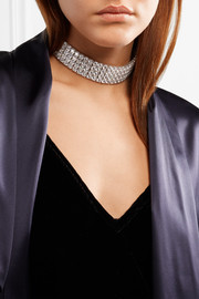 Silver and rhodium-plated cubic zirconia choker