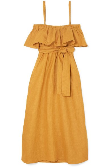 Santo Ruffled Linen Midi Dress by Faithfull The Brand