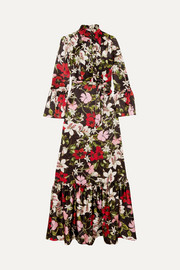 Stephanie floral-print silk-satin gown