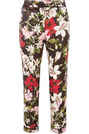 Ginnie cropped floral-print silk-satin straight-leg pants