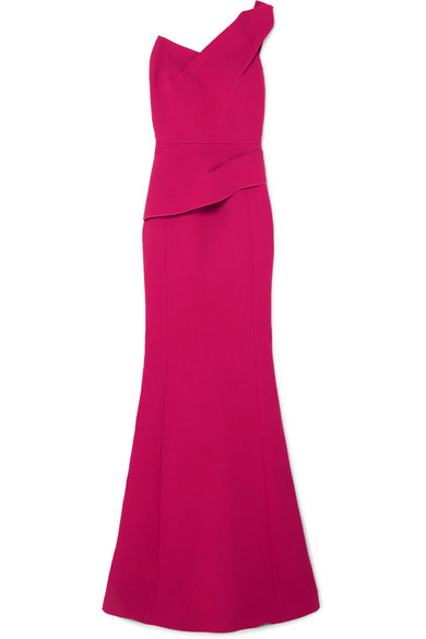 AZUL ONE-SHOULDER WOOL-CREPE GOWN