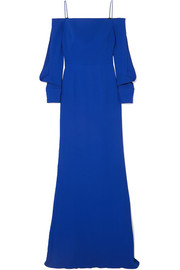Fimber cold-shoulder crepe gown