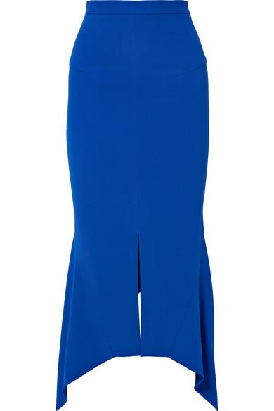 Milton Asymmetric Stretch-Jersey Midi Skirt in Blue
