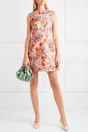 Valentino Floral-print wool and silk-blend crepe mini dress