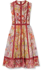 Valentino Floral-print broderie anglaise cotton-blend mini dress