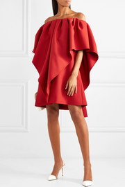 Valentino Off-the-shoulder wool-cady mini dress
