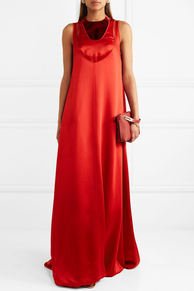 Sale Deals Discount Velvet-trimmed Hammered-satin Maxi Dress - IT42 Valentino Outlet Low Price 14OvecOAQw