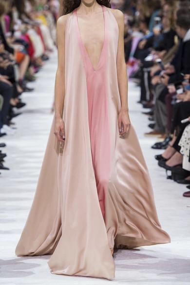 Valentino Zweifarbige Robe aus gehämmertem Seidensatin