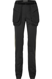 Valentino Velvet-trimmed hammered-satin straight-leg pants