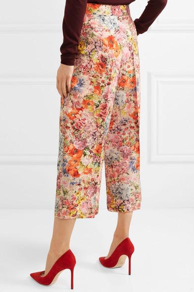 Valentino Culottes aus Crêpe aus einer Woll-Seidenmischung mit Blumenprint