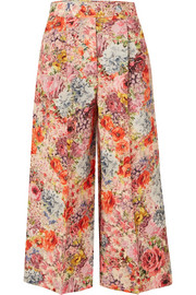 Valentino Floral-print wool and silk-blend crepe culottes