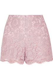 Valentino Scalloped metallic corded lace shorts