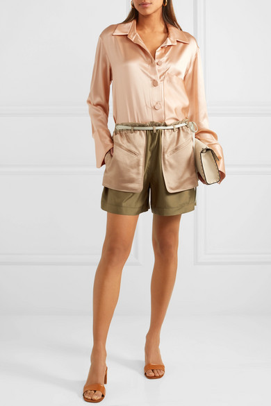 Valentino Mehrlagige Shorts aus Seiden-Crêpe und gehämmertem Satin