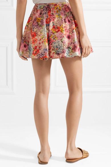 Valentino Shorts aus einer Woll-Seidenmischung mit Blumenprint und Rockeffekt