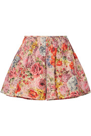 Skirt-effect floral-print wool and silk-blend shorts