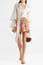 Valentino Skirt-effect floral-print wool and silk-blend shorts