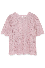 Valentino Scalloped metallic corded lace top
