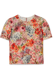 Valentino Floral-print wool and silk-blend crepe top