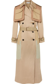 Valentino Oversized-Trenchcoat aus gehämmertem Satin in Patchwork-Optik