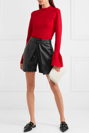 Valentino Layered leather shorts
