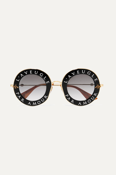 3c72784fe Gucci | Printed round-frame acetate and gold-tone sunglasses | NET-A ...