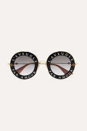 Printed round-frame acetate and gold-tone sunglasses