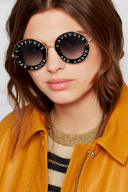Gucci Printed round-frame acetate and gold-tone sunglasses