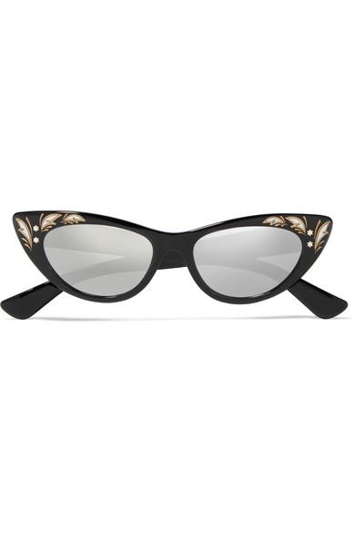 e89565b424e Gucci Cat-Eye Acetate Mirrored Sunglasses In Black