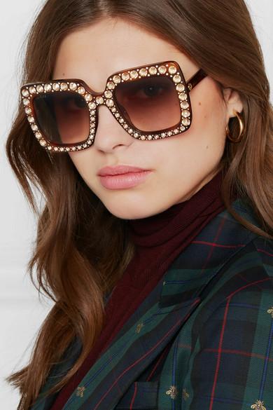 f4e2145b9c6 Gucci. Oversized crystal-embellished square-frame tortoiseshell acetate  sunglasses.  965. Zoom In