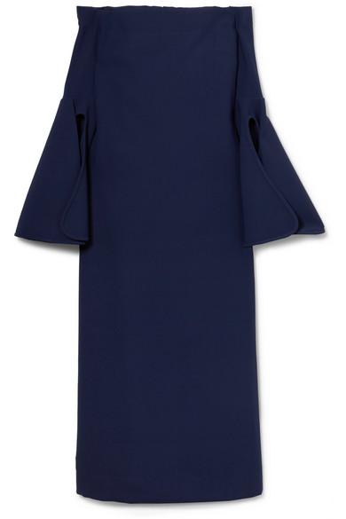 Gertie Off-The-Shoulder Crepe Midi Dress, Navy