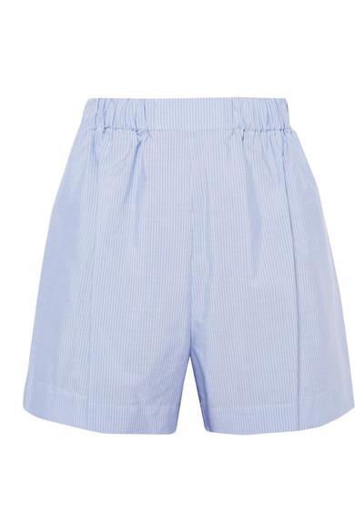 Hillier Bartley Pinstriped cotton-poplin shorts