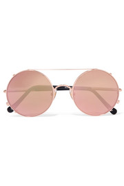 Valentine round-frame rose gold-tone mirrored convertible sunglasses