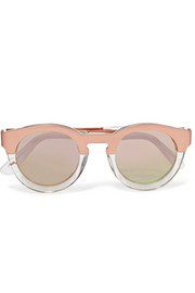 Soelae round-frame rose gold-tone and acetate sunglasses